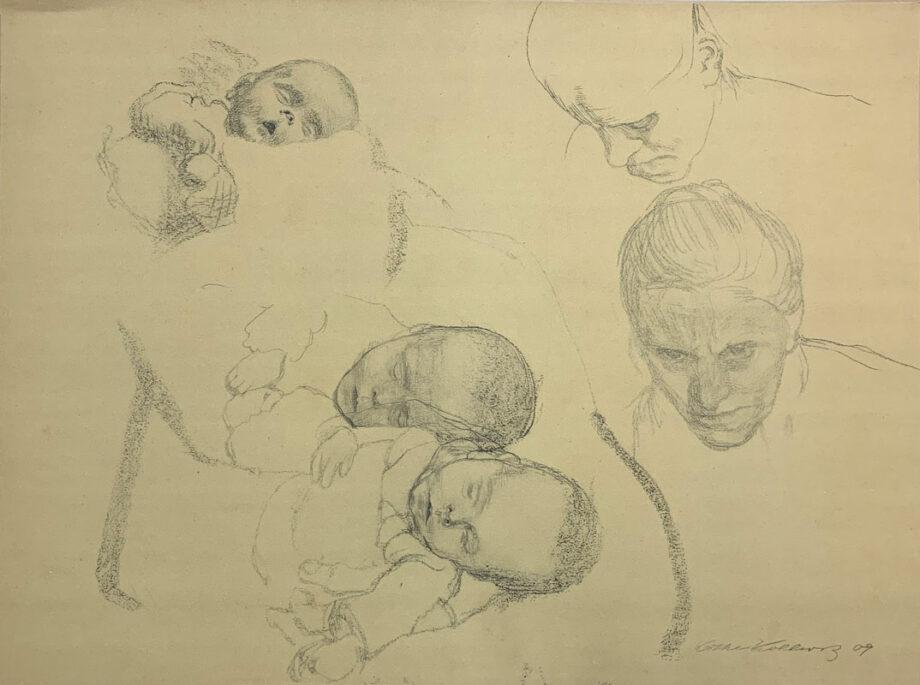galerie-ahlers-kaethe-kollwitz-blatt-nummer-14-blatt-mit-kinderkoepfen-1920-45x59,5