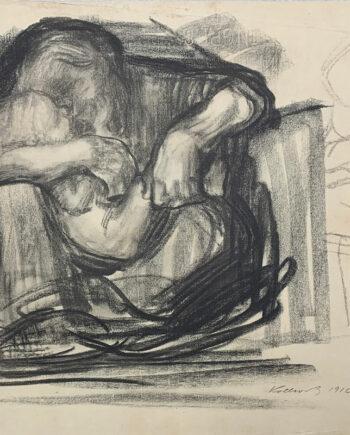galerie-ahlers-kaethe-kollwitz-blatt-nummer-15-kauernde-frau-mit-kind-im-schoss-1920-42x53