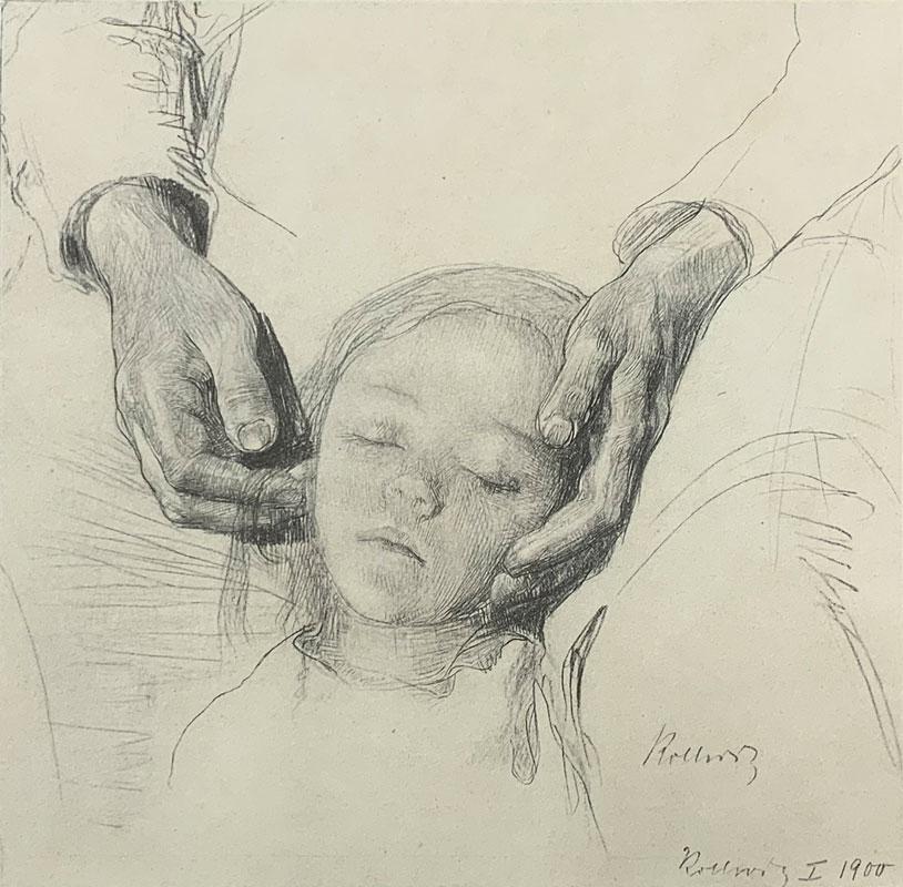 galerie-ahlers-kaethe-kollwitz-blatt-nummer-3-kinderstudie-zu-zertretene-1920-20,9x21