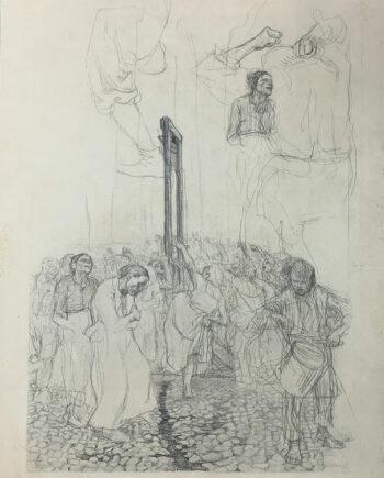 galerie-ahlers-kaethe-kollwitz-blatt-nummer-9-studie-zur-carmagnole-1920-56x43