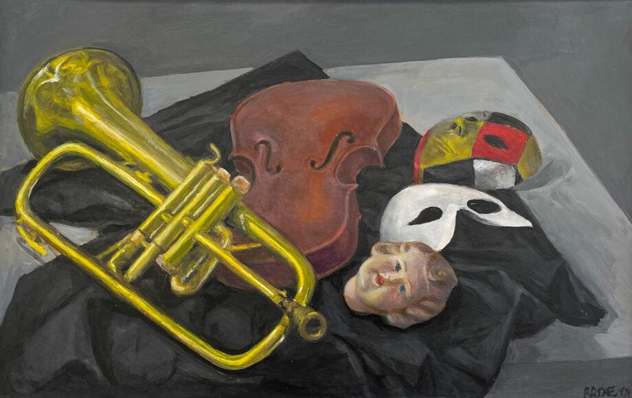 gurun-bruene-stillleben-mit-trompete-und-geige-2018-mischtechnik-auf-hartfaser-70-x-45