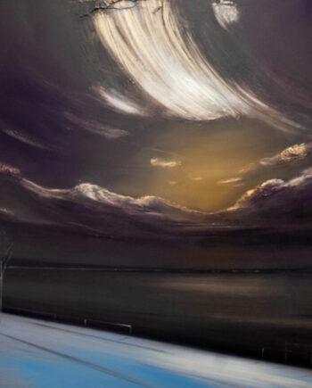 galerie-ahlerigrid-Nienstedt-Nacht-Wolken-und-hellblaues-Ufer-2021-Öl-auf-Leinwand100x100cm